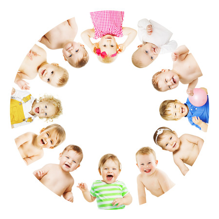 Kids and Babies Group Circle over White, Children in Round View