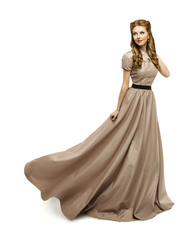Photo for Woman Brown Dress, Fashion Model in Long Gown Turning on White - Royalty Free Image