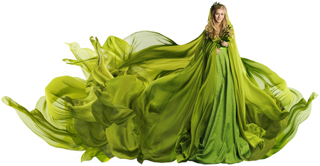 Photo for Woman in Flying Dress Fabric, Fashion Model in Green Clothes over White - Royalty Free Image