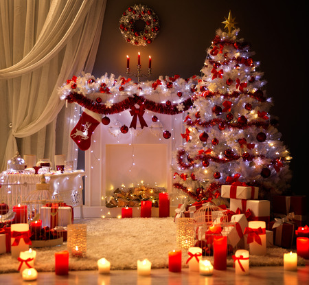Photo for Christmas Interior, Xmas Tree Fireplace Light, Decorated Home Room - Royalty Free Image