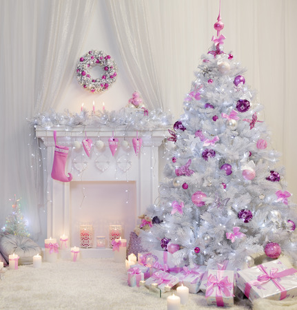Photo pour Christmas Tree Interior, Xmas Fireplace in Pink Decorated Indoors, Fantasy Room - image libre de droit