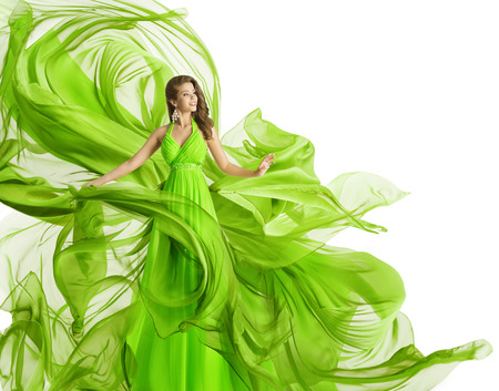Photo for Fashion Woman Flying Dress, Model in Green Gown Waving Chiffon Fabric, Flowing Cloth Isolated over White - Royalty Free Image