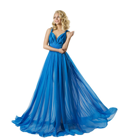 Foto de Woman Fashion Long Prom Dress, Elegant Girl in Ball Gown, Blue Clothes Isolated over white - Imagen libre de derechos