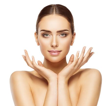 Photo pour Woman Face Hands Beauty, Skin Care Makeup, Beautiful Model Make Up Portrait, White Isolated - image libre de droit