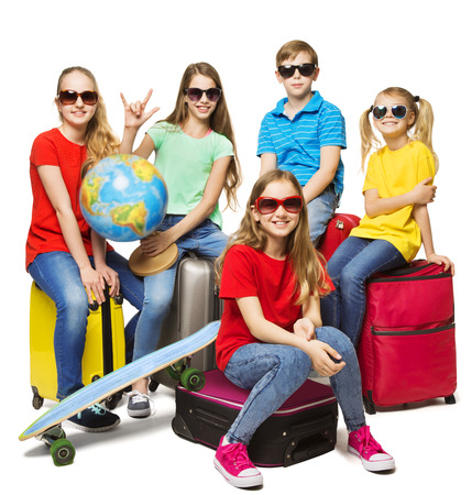 Foto de Children Summer World Travel, Young School Students Camp Journey, Group in Sunglasses over White - Imagen libre de derechos