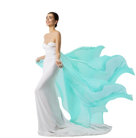 Photo for Woman Long Dress, Fashion Model in White Silk Gown, Waving Flying Fabric - Royalty Free Image