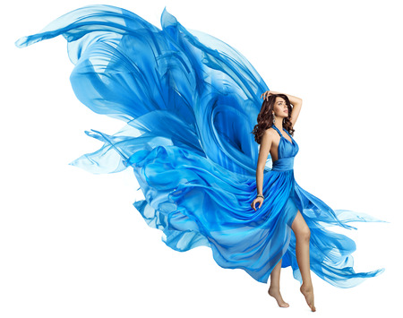 Photo pour Woman Flying Blue Dress, Elegant Fashion Model in Fluttering Gown on White, Art Fabric Fly and Flutter on Wind - image libre de droit