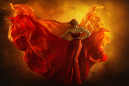 Photo for Fashion Model Art Fantasy Fire Dress, Blindfolded Woman Dreams in Red Flying Gown, Girl Beauty Portrait, Fabric Fluttering like Flame Wings - Royalty Free Image