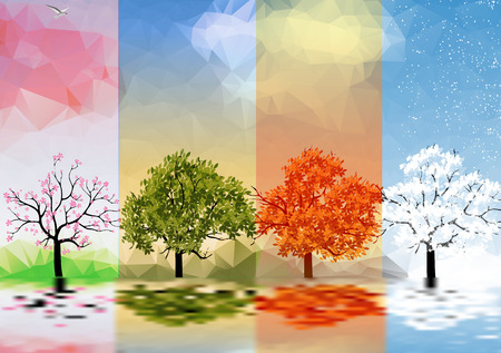 Illustration pour Four Seasons Banners with Trees and Lake Reflection  - image libre de droit
