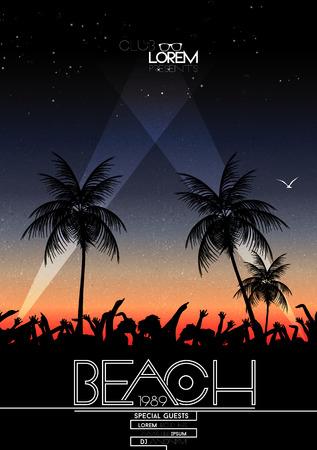 Ilustración de Summer Beach Party Vector Flyer - Vector Illustration - Imagen libre de derechos