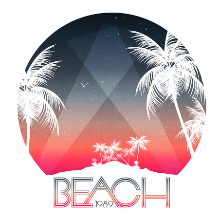 Illustration for Beach Party Poster with Tropical Island and Palm Trees - Vector Illustration - Royalty Free Image