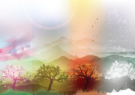 Illustration pour Four Seasons Banners Spring, Summer, Fall, Winter with Abstract Trees and Mountains  - Vector Illustration - image libre de droit