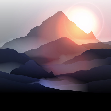 Illustration pour Mountain Landscape at Sunrise - Vector Illustration - image libre de droit