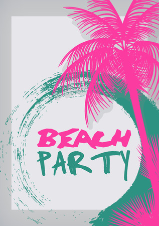 Illustration for Summer Beach Party Poster - Vector Illustration - Royalty Free Image