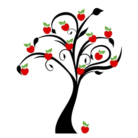 Illustration for Beautiful apple tree isolated on white background - Royalty Free Image