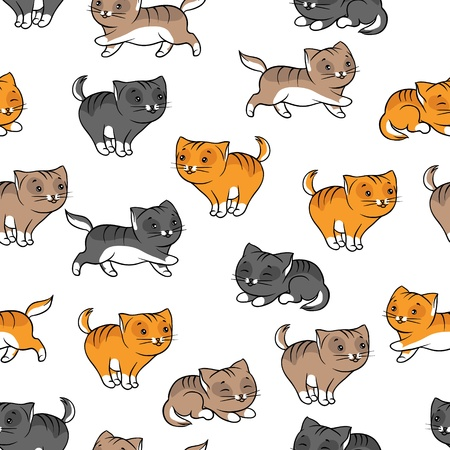 Seamless pattern with funny cats  Vector illustration