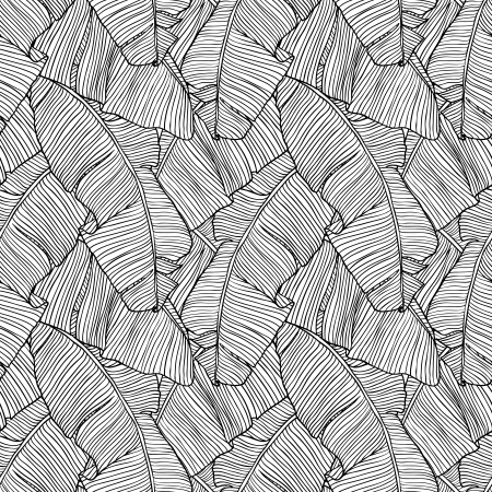 Photo pour Vector illustration leaves of palm tree  Seamless pattern  - image libre de droit