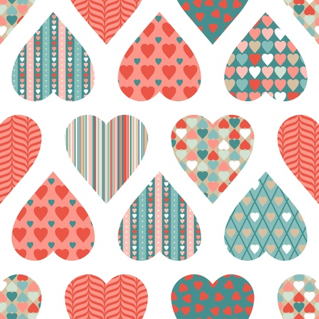 Illustration for seamless pattern of Valentine s Day in retro style  - Royalty Free Image