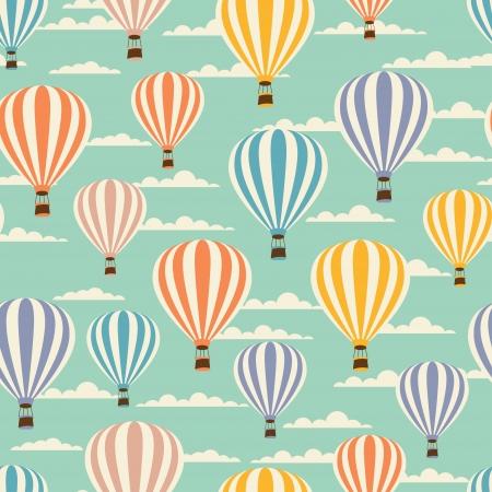 Photo pour Retro seamless travel pattern of balloons  - image libre de droit