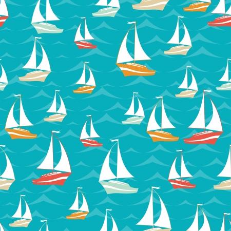 Photo pour Retro seamless travel pattern of yacht  - image libre de droit