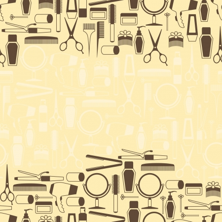 Illustration for Hairdressing tools seamless pattern in retro style. - Royalty Free Image
