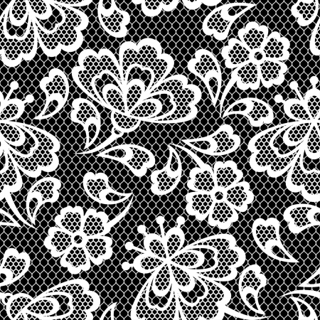 Illustration for Old lace seamless pattern, ornamental flowers. Vector texture. - Royalty Free Image