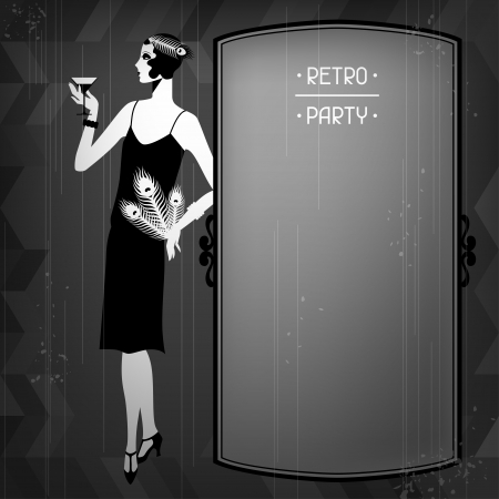 Illustration pour Retro party background with beautiful girl of 1920s style. - image libre de droit