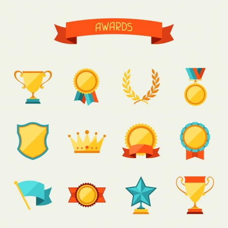 Illustration for Trophy and awards icons set. - Royalty Free Image