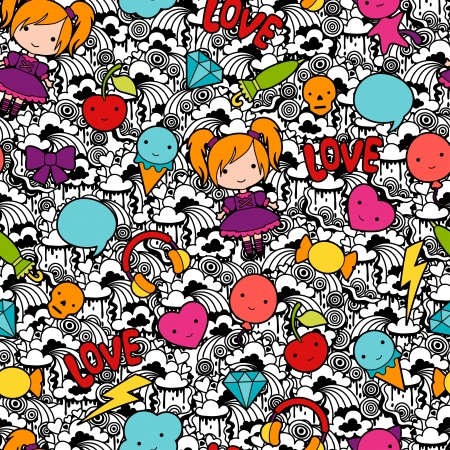 Ilustración de Seamless kawaii child pattern with cute doodles. - Imagen libre de derechos