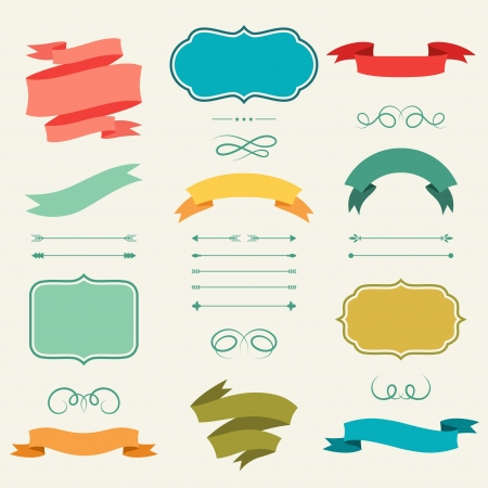 Illustration pour Set of romantic arrows, ribbons and labels in retro style. - image libre de droit