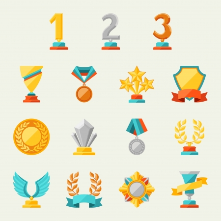 Illustration for Trophy and awards icons set  - Royalty Free Image