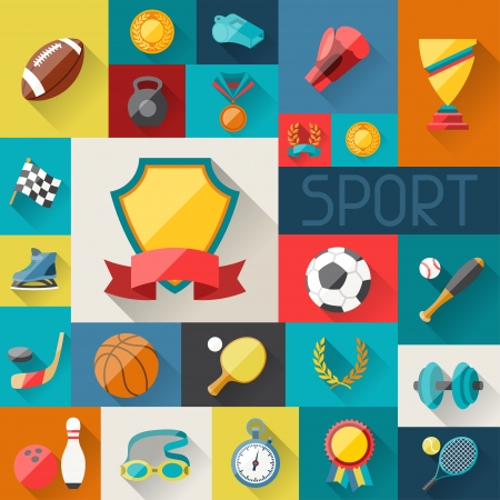 Background with sport icons in flat design style.