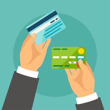 Illustration for Hands holding bank cards in flat design style. - Royalty Free Image