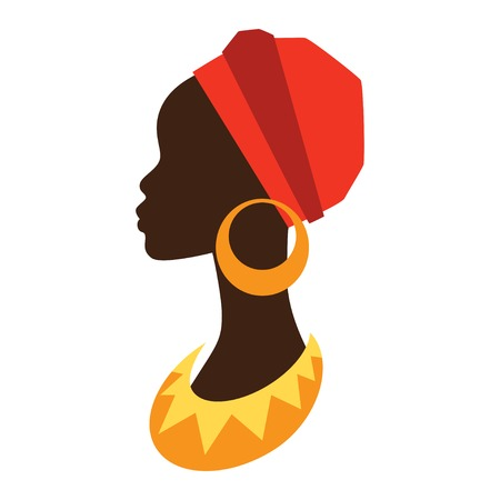 Ilustración de Silhouette of african girl in profile with earrings. - Imagen libre de derechos