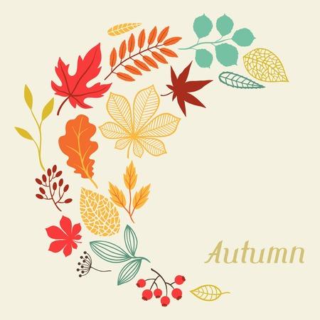 Ilustración de autumn leaves in shape for greeting cards  - Imagen libre de derechos