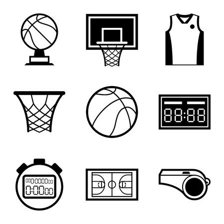 Illustration pour Basketball icon set in flat design style  - image libre de droit