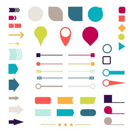 Photo pour Set of elements, markers, arrows and dividers for design  - image libre de droit