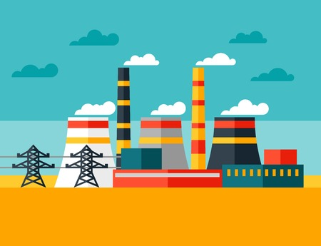 Ilustración de Illustration of industrial power plant in flat style  - Imagen libre de derechos