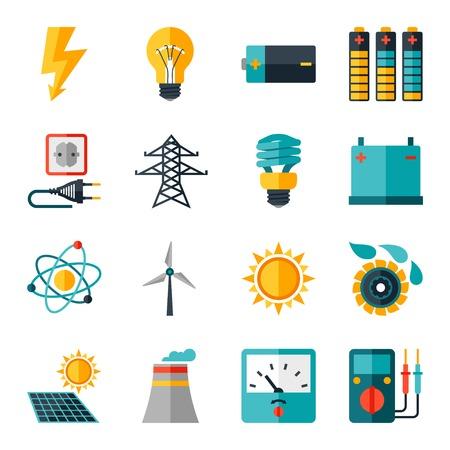 Ilustración de Set of industry power icons in flat design style. - Imagen libre de derechos