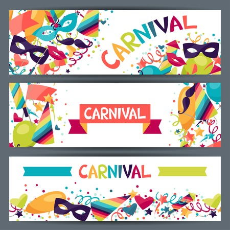 Illustration pour Celebration horizontal banners with carnival icons and objects. - image libre de droit