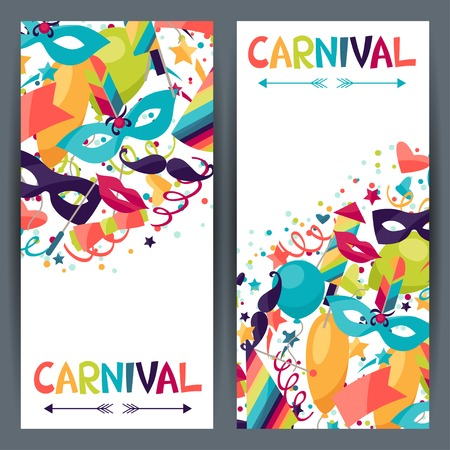 Illustration pour Celebration vertical banners with carnival icons and objects. - image libre de droit