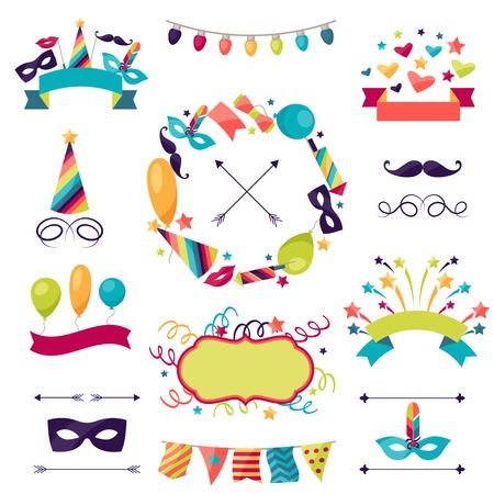 Illustration pour Celebration carnival set of icons, decorations and objects. - image libre de droit