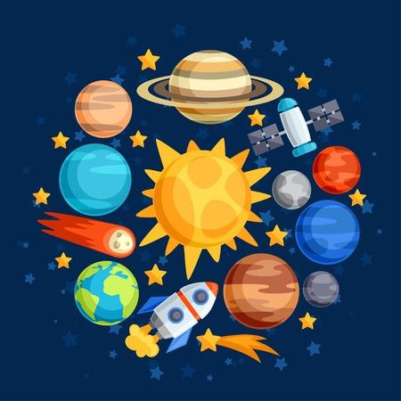 Illustration pour Background of solar system, planets and celestial bodies. - image libre de droit