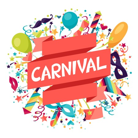 Illustration pour Celebration festive background with carnival icons and objects. - image libre de droit