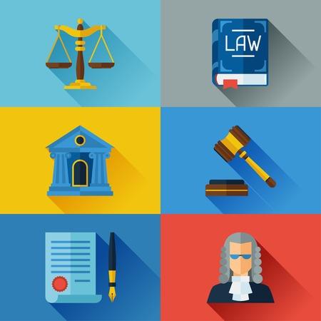 Illustration pour Law icons set in flat design style. - image libre de droit