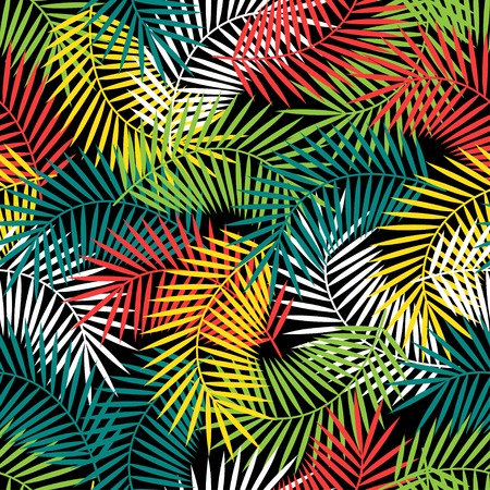Illustration pour Seamless tropical pattern with stylized coconut palm leaves. - image libre de droit