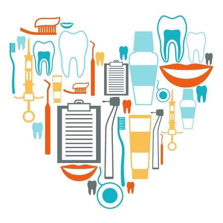 Ilustración de Medical background design with dental equipment icons. - Imagen libre de derechos