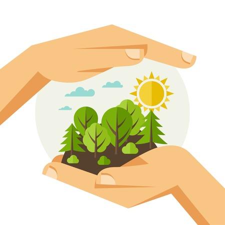 Ilustración de Environmental protection, ecology concept illustration in flat style. - Imagen libre de derechos