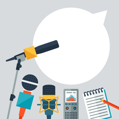 Illustration pour Background with journalism icons. - image libre de droit