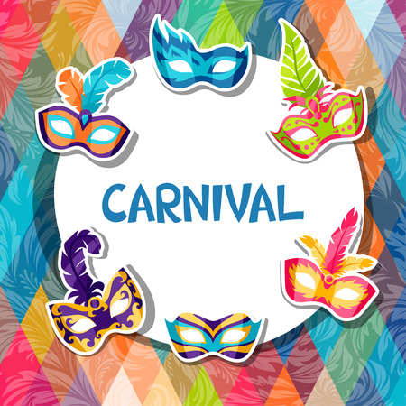 Illustration pour Celebration festive background with carnival masks stickers - image libre de droit